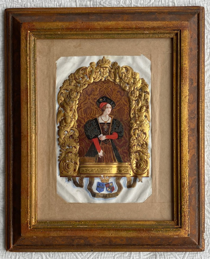 Portrait of Lady Jane Gray, liquid gold and body-color on vellum, with integral lettering 'Ye Lady Jane / Graye [sic.]...'