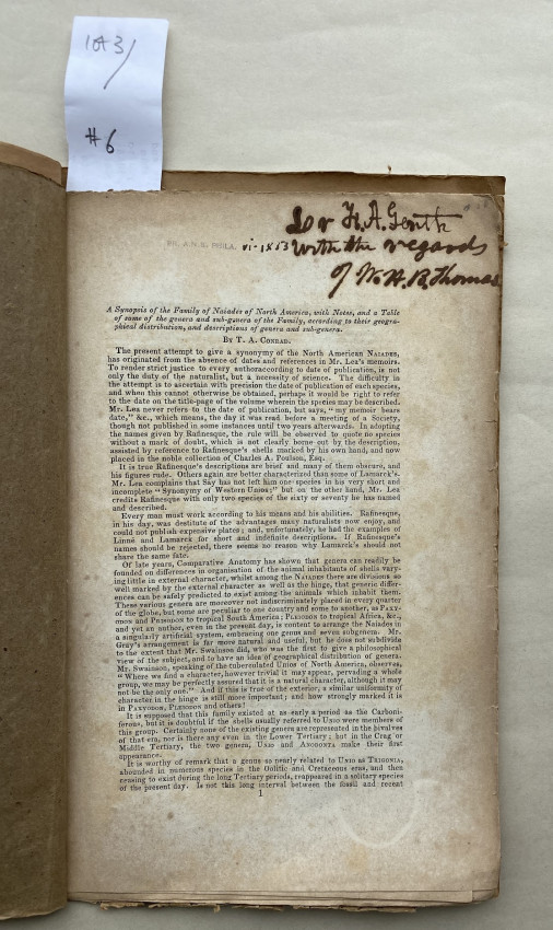 [NORTH AMERICA. -] A Synopsis of the Family of Naïades of North America,