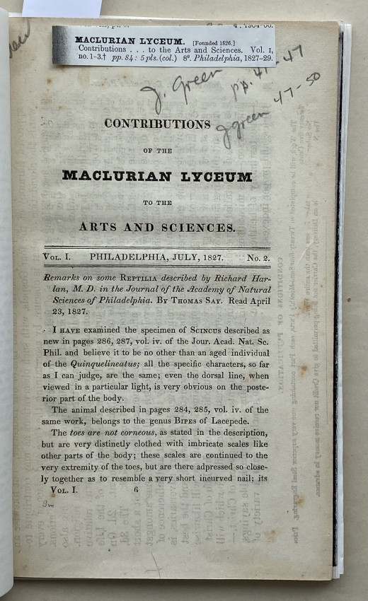 [PITTSBURGH & HAWAII]. Contributions of the Maclurian Lyceum to the Arts and Sciences. Vol.I …. No.2.