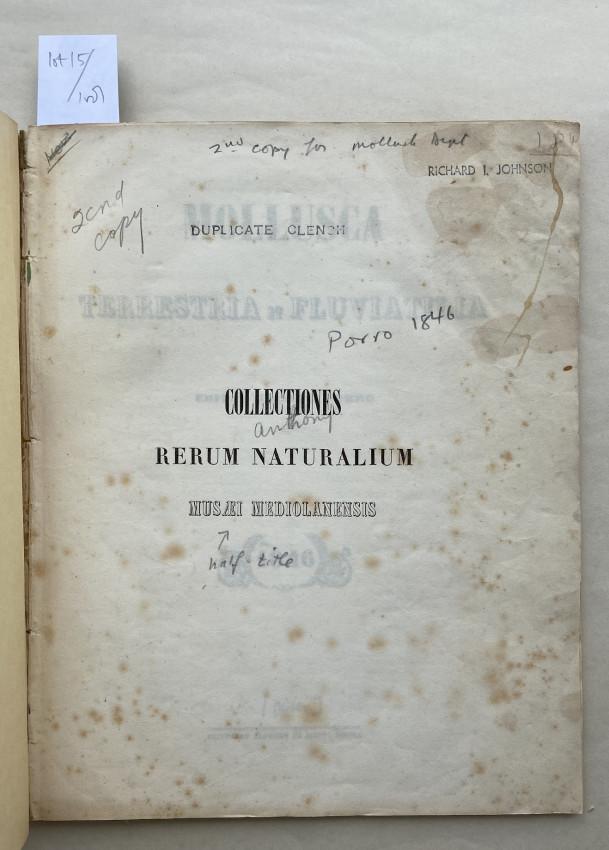 Mollusca Terrestria et Fluviatilia edit. i. curante C. Porro.