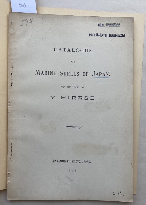[JAPAN: three catalogues of Japanese land and marine shells, for sale from Hirase]
