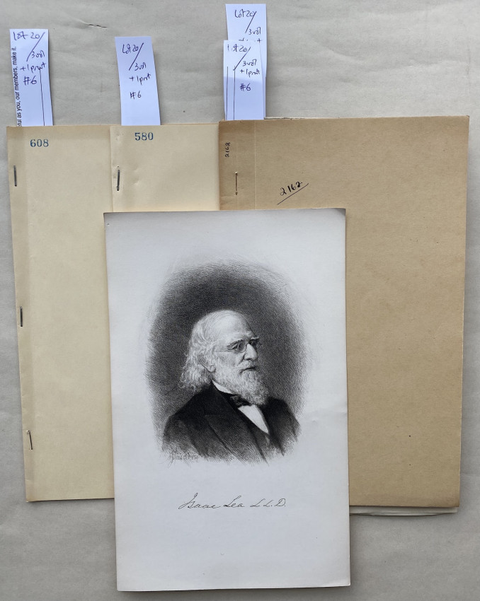 [Three malacological works, one inscribed to Lea, two by Lea; with an etched portrait of Lea]