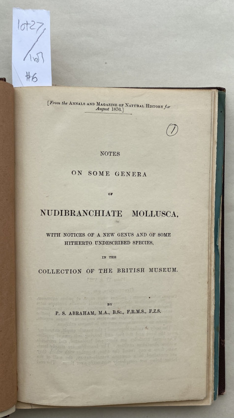 [MALAYA & BORNEO, etc. - Collection of offprints, by various authors, all recording shells collected by Everett]