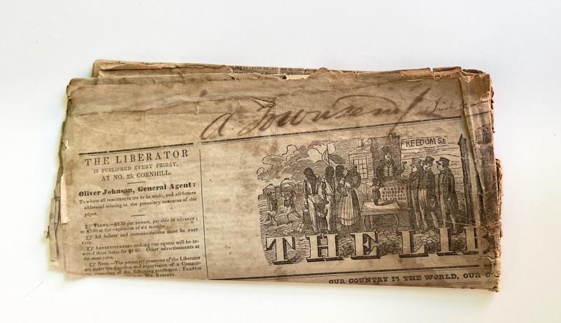 "[NEWSPAPER; SLAVERY] THE LIBERATOR  Jan. 4, 1839 w/ Contemporary inscription, ""Colonization Society "" mentioned"