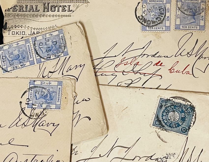 [NAVY;  POSTAL HISTORY] Small archive of letters, cards & stamped envelopes while commanding USS Isla de Cuba