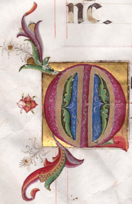 """Illuminated Initials """"T"""" and """"M"""" from a Gradual Manuscript on Vellum in Latin.  Italy, c. 1440"""