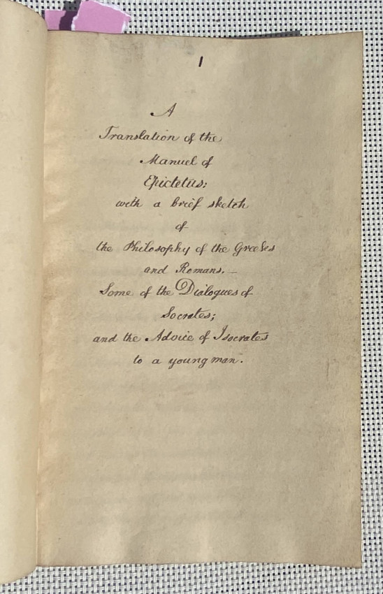 Fair-copy manuscript, titled 'A Translation of the Manuel [sic.] of Epictetus: