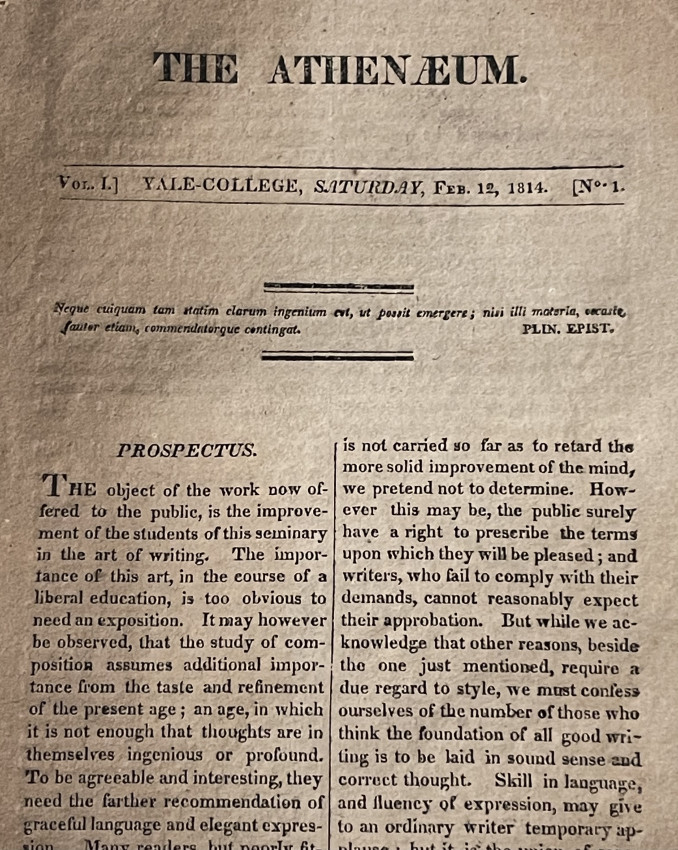 [AMERICAN PERIODICAL; PROSPECTUS] THE ATHENAEUM. Vol. 1, no. 1 -15. 1814
