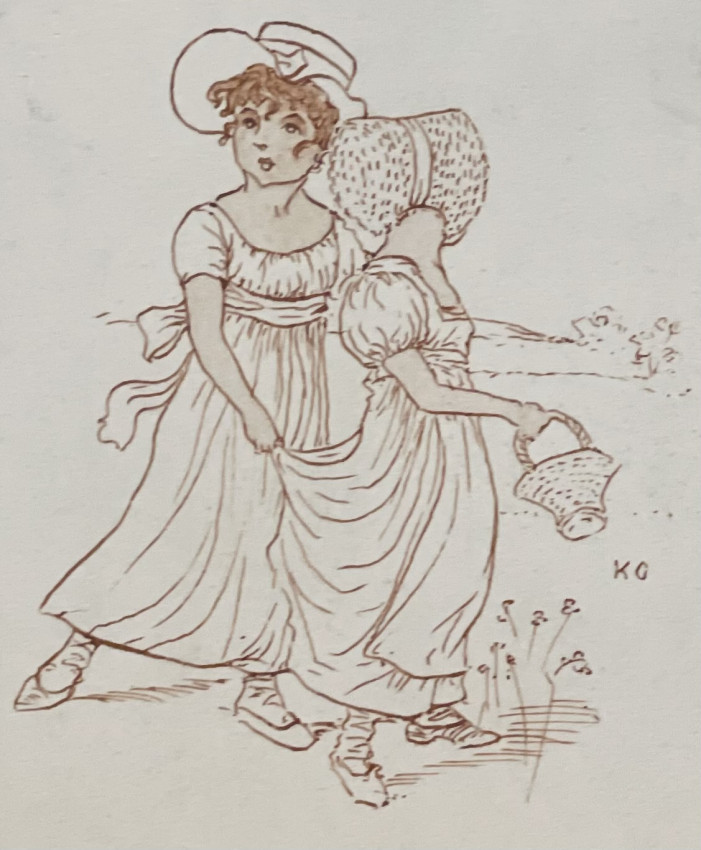 Original pen & ink drawing of 2 girls collecting flowers