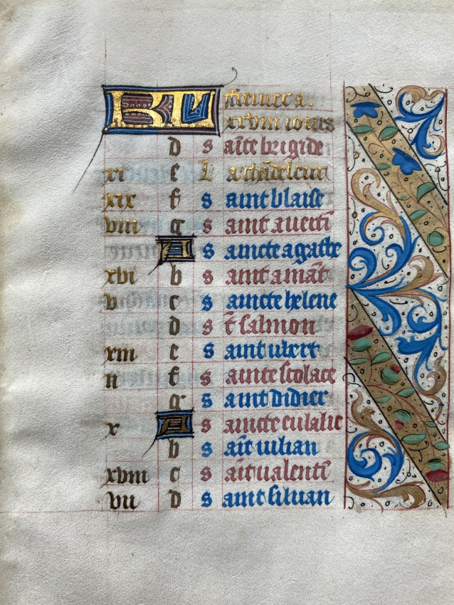 Calendar Leaf for the month of February, Leaf from a Book of Hours dedicated to Catherine de Medici, Paris, c. 1490