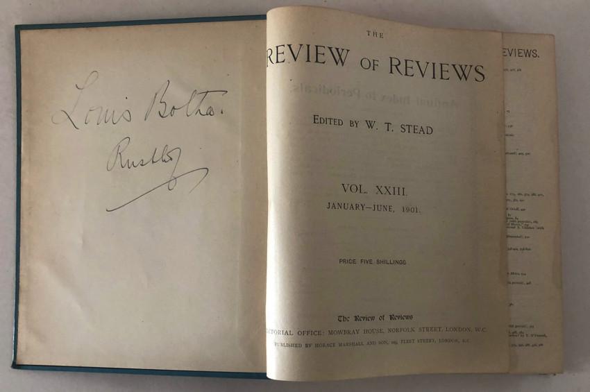 REVIEW OF REVIEWS VOLS. XXII & XXIII. 1901-1902.  EX-LIBRIS GENERAL LOUIS BOTHA & BOTH SIGNED BY HIM.  BOER WAR INTEREST.