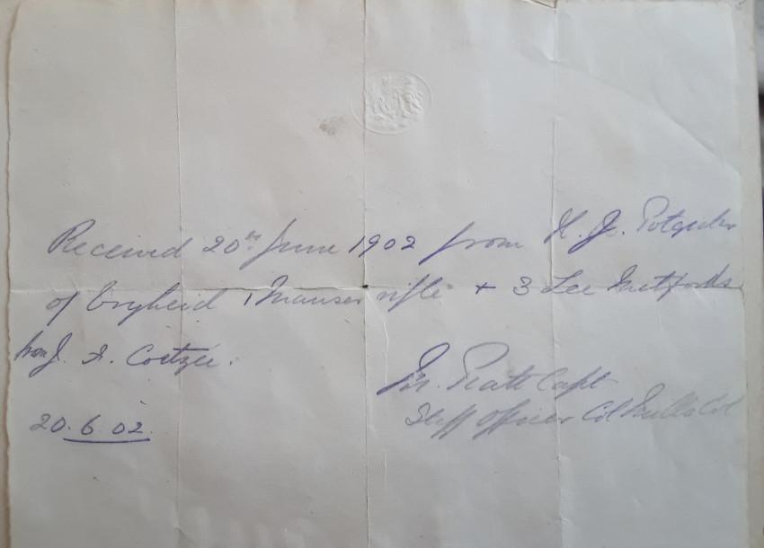 Boer War Receipt: Handing over of Arms