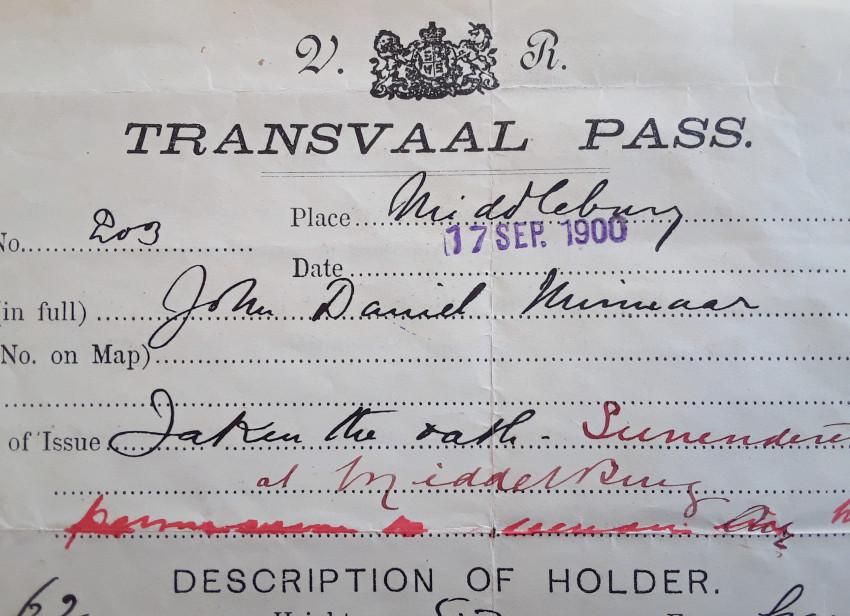 Surrendered Boer Transvaal Pass (with fingerprint)