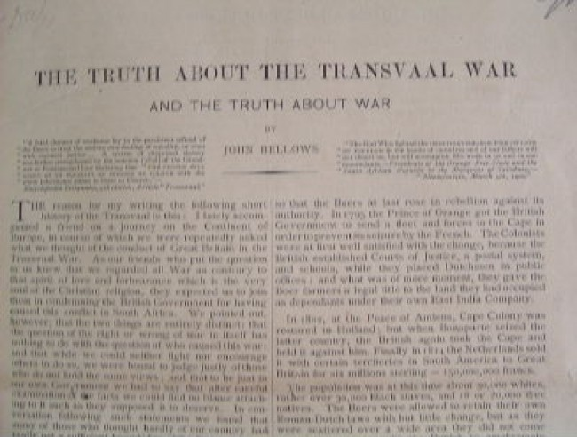 The truth about the Transvaal War and the truth about war
