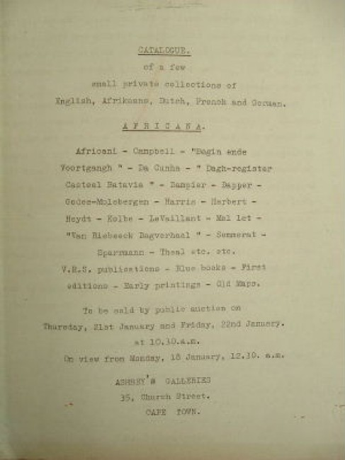 Catalogue of a few small private collections of English, Afrikaans, Dutch, French and German. Africana