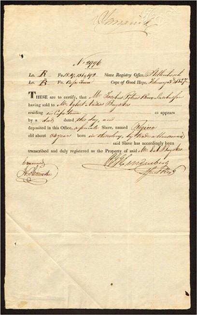 SLAVE REGISTRY OFFICE, CAPE OF GOOD HOPE