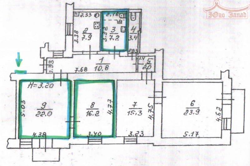 2-х комнатная квартира ( выделена) | Агентство недвижимости Юго-Запад