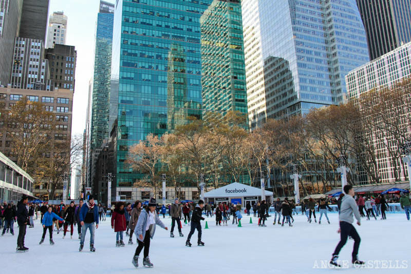 Pistas patinaje sobre hielo Nueva York Bryant Park