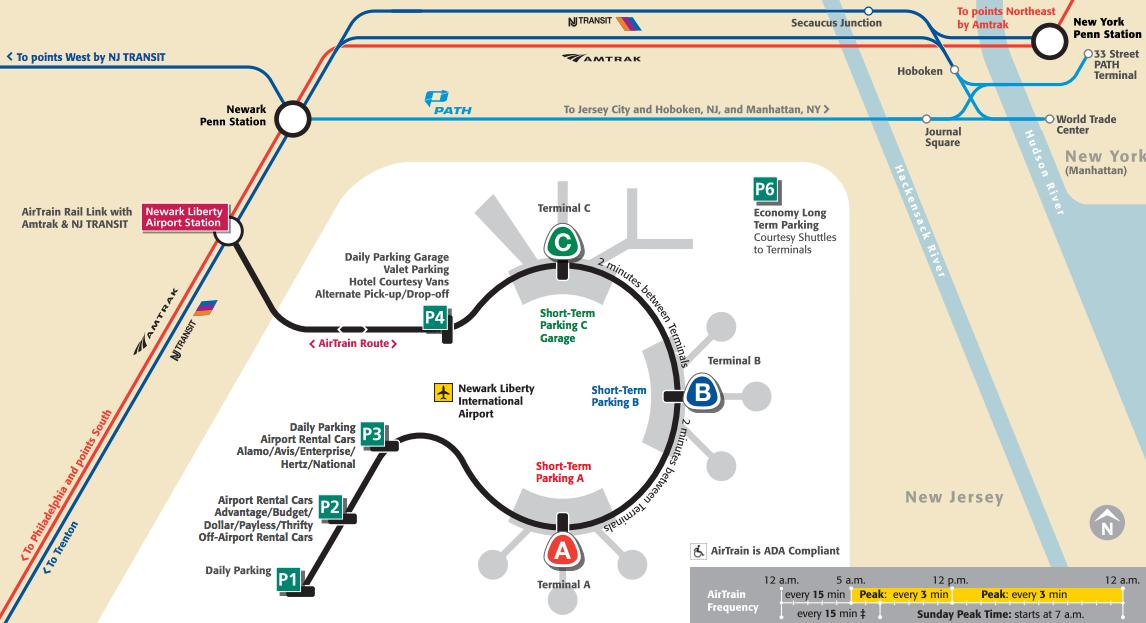 Cómo llegar a Nueva York desde el aeropuerto de Newark - Mapa del Airtrain