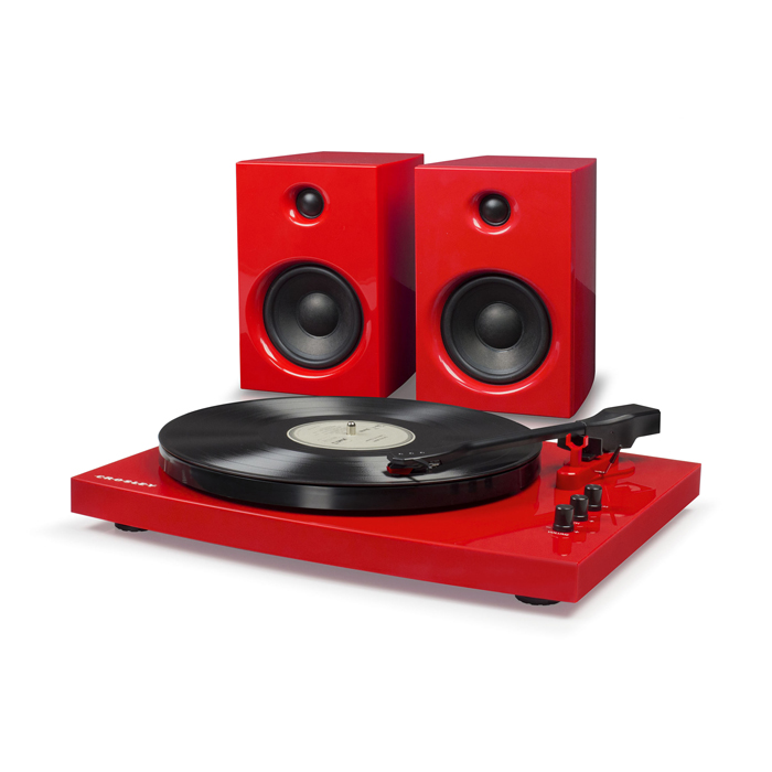 T100A RED - Gramofon + Głośniki
