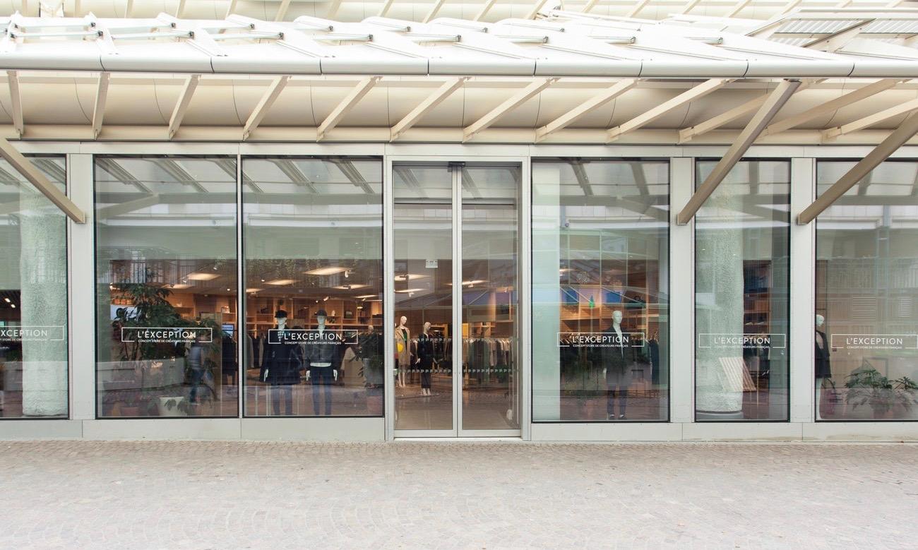Façade du concept-store marquée L'Exception sous la Canopée des Halles