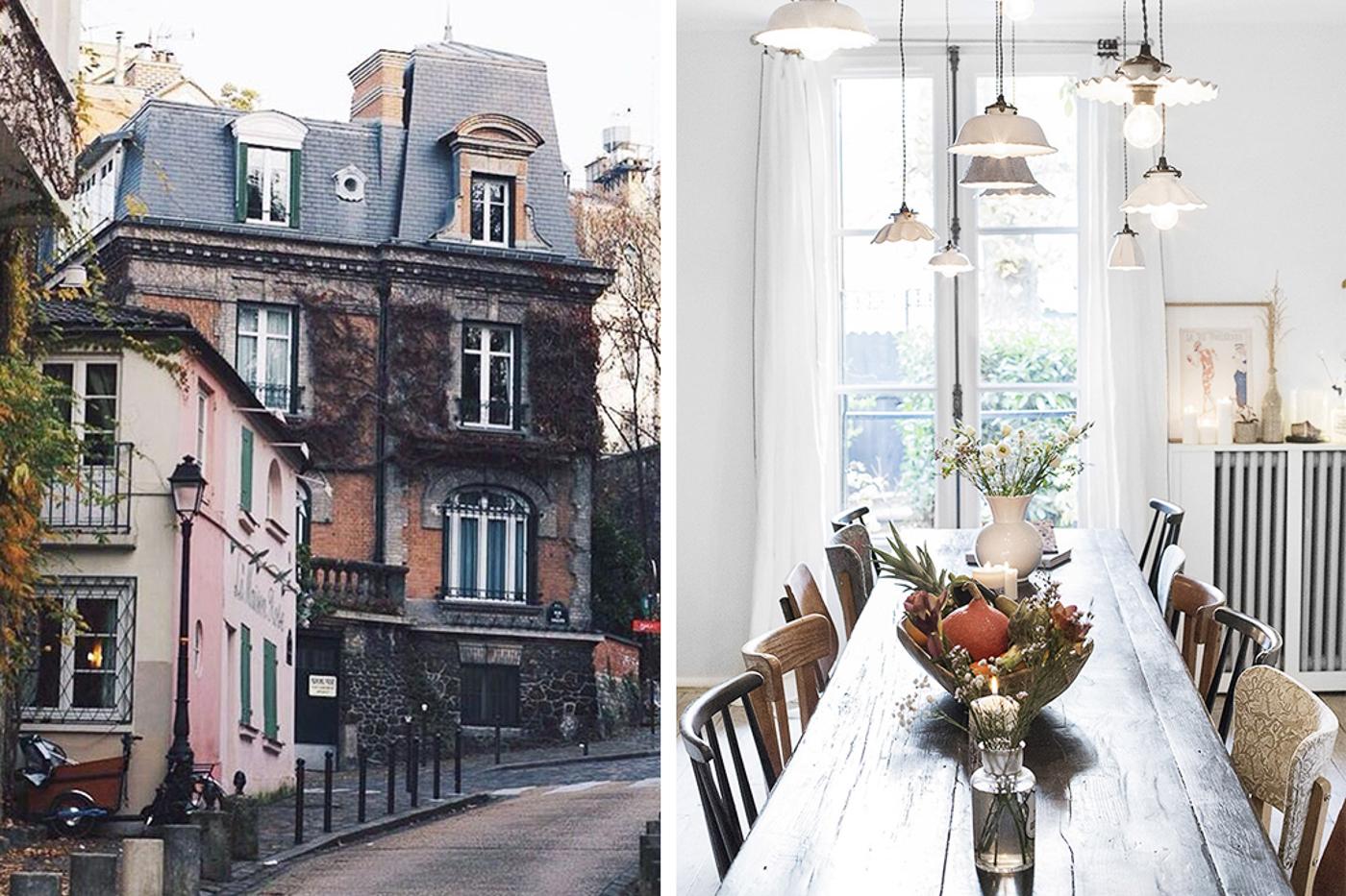 Double photo de la Maison de Vacances de My Little Paris à Montmartre, façade à gauche et table à manger à droite.