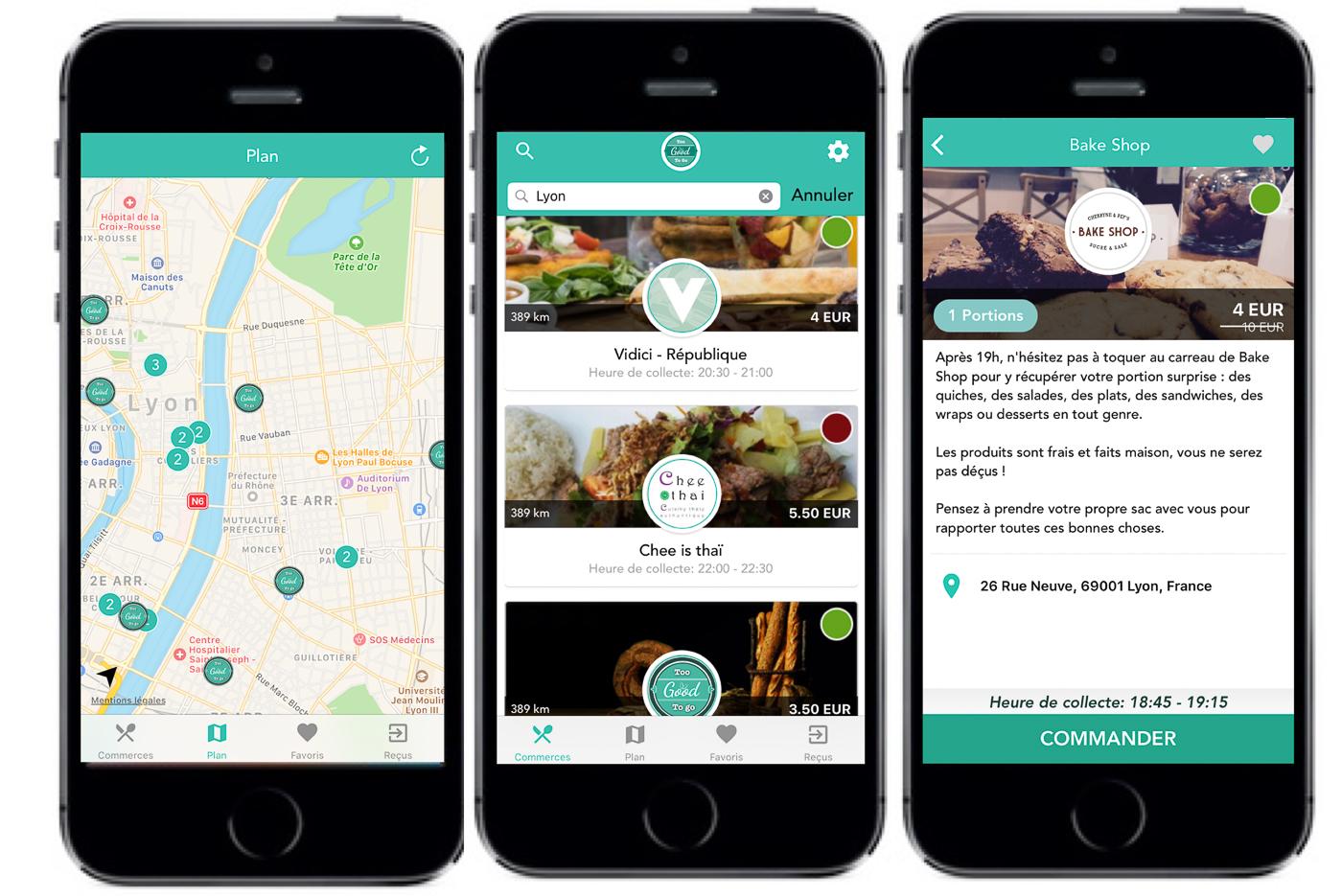 Trois Iphones avec un plan, une liste de restaurants et une description de restaurant présentent l'application anti-gaspillage alimentaire Too Good To Go