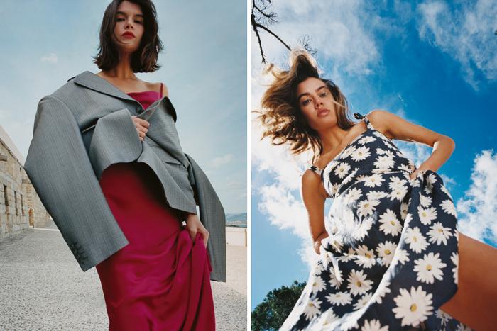 Campagne de la marque Miræ, deux mannequins prise en contre-plongée. L'une porte une veste grise et une robe rouge, et l'autre, une robe bleue à imprimé pâquerettes