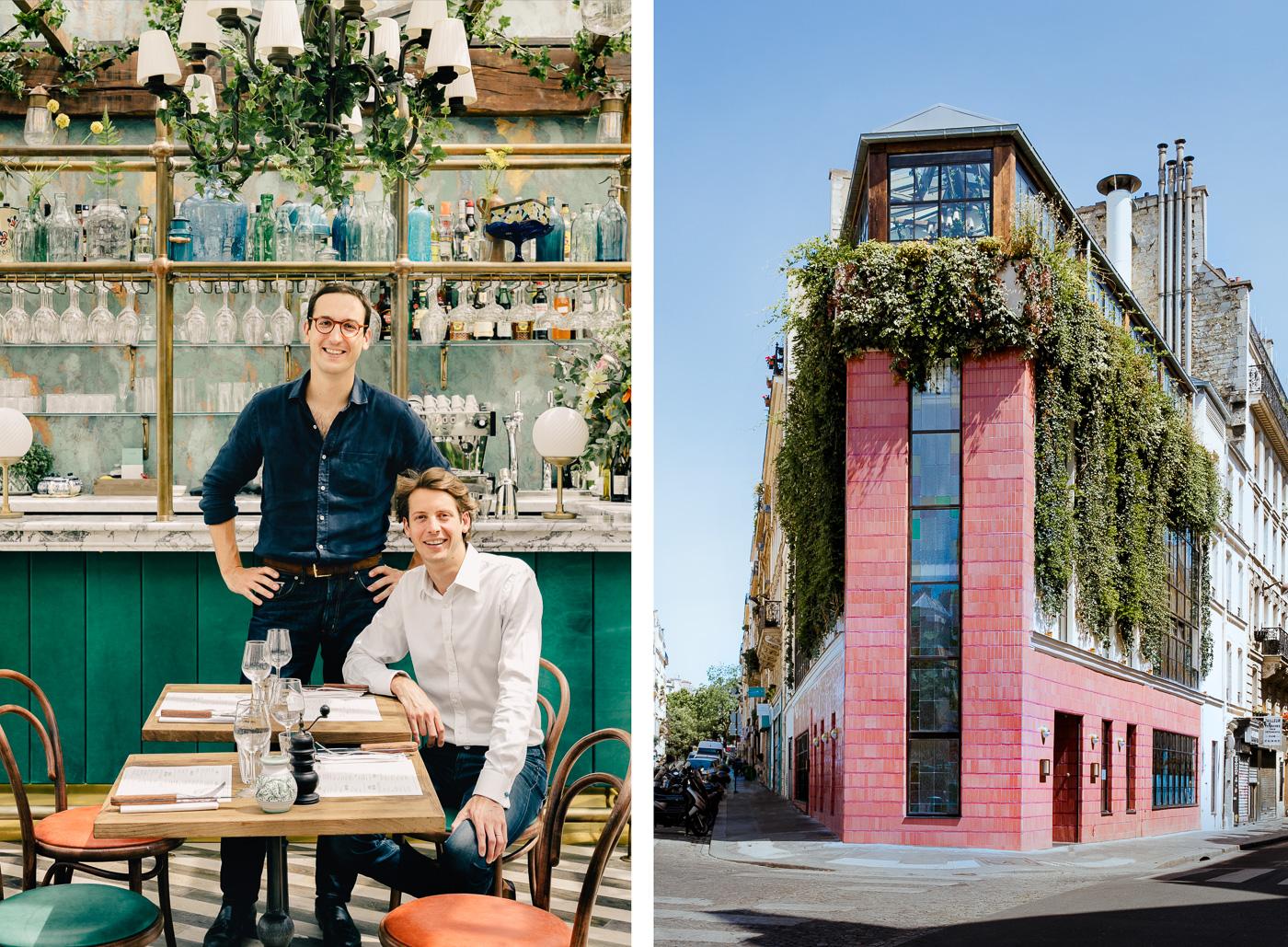 Victor Lugger et Tigrane Seydoux, fondateurs du groupe Big Mamma à gauche et la façade du Pink Mamma à droite
