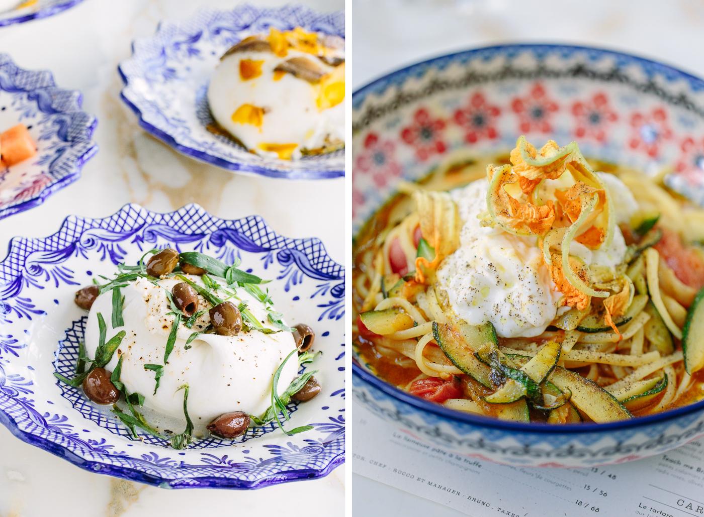 Burrata et pâtes du groupe Big Mamma dans des assiettes italiennes traditionnelles