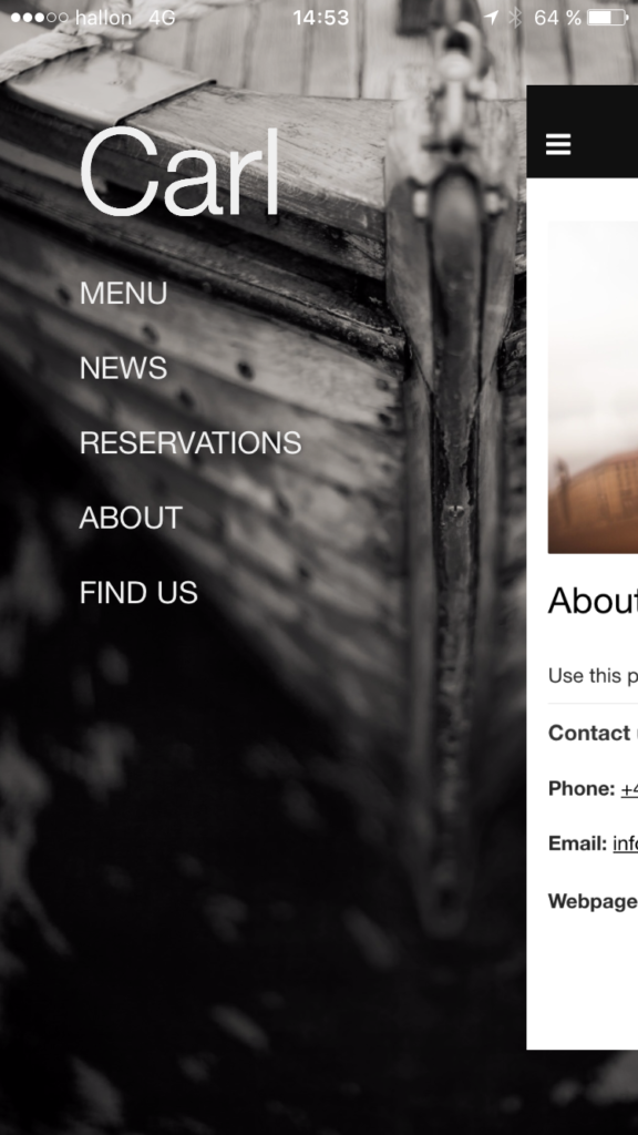 """Bildtext: One of our templates, """"Carl"""". A restaurant template combing the modules Content, News, Forms and Locations to provide you with all the necessary functions for your business app."""