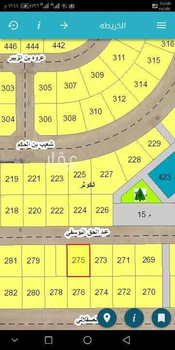 1472875 للبيع   نص أرض بالعزيزية   في مخطط 128 الكوثر  حرف أ  مساحه 437.50 م  20 شمال    رقم 275  مطلوب 240الف  للاستفسار   ٠٥٠٠١١٣٠٣٠ أبو كمال