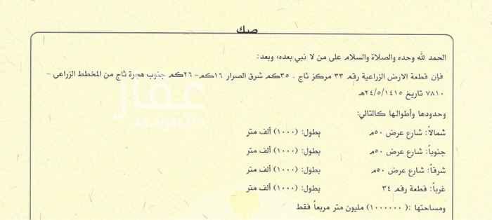 1688432 25 كم. جنوب هجرة ثاج شرق ردمية الحارة وجنوب طريق الجبيل المجمعه مازال تحت الانشاء