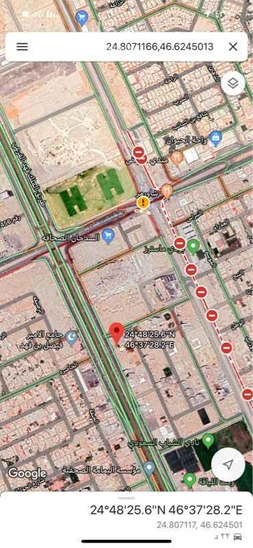1756305 ١٠٥٠ متر مربع على طريق الملك فهد بعد مستشفى الألماني قبل السدحان أطوالها ٣٠ على الملك فهد شارع واحد غربي والعمق ٣٥.