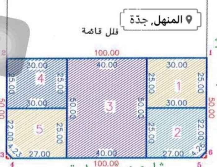 1061201 فرصه مميزه للمستثمرين منطقه ذات كثافه سكانيه عاليه للبيع ارض المشار اليها في الكروكي برقم (1) بمساحة  750م بقيمة 3500 ريال للمتر