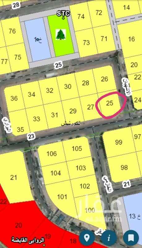 1378357 للبيع بموقع مميز قطعة رقم  ٢٥ البلك ٨  زاوية  بمخطط  عين الخبر قرب فندق الموفنبيك المساحة :  ٨٩٦.٥٠ م٢