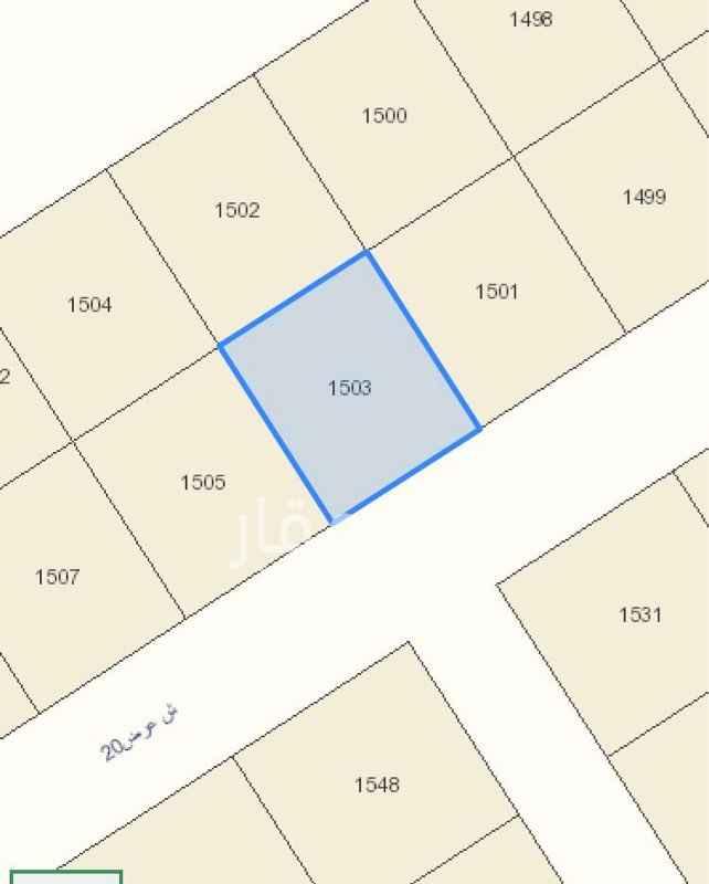 1757265 مخطط الخير ٣٥٣٨ رقم القطعة ١٥٠٣ الشارع ٢٠ جنوبي  المساحة ٧٥٠ متر