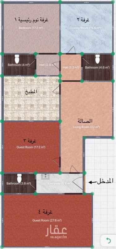 1297003 شقه مكونه من اربع غرف وصاله ومطبخ وثلاث حمامات