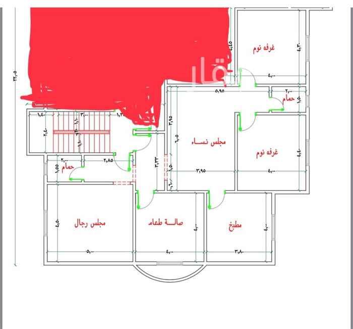 1664111 شقة دور علوى مكونة من غرفتين نوم ومقلط ومجلس رجال وصالة نساء وحمامين ومطبخ (المقلط مكيف سبيلت)الشقة شبه جديدة. يفضل عائلة صغيرة او عرسان. الشقة مدخلين (السعر شامل المياة)