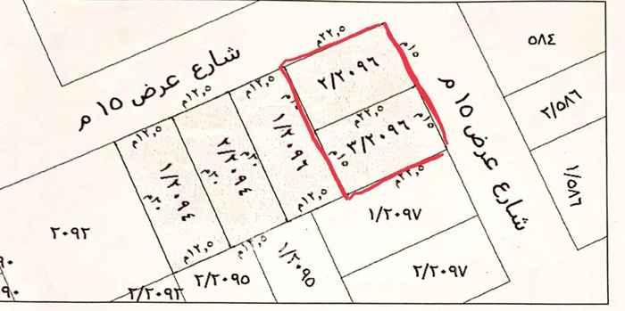 1758080 للبيع ارض سكنية في حي القيروان غرب الخير المساحة ٦٧٥م زاوية شمالية شرقية شوارع ١٥م الاطول ٢٢.٥*٣٠ عليها محضر تجزئة السوم ٢٦٠٠