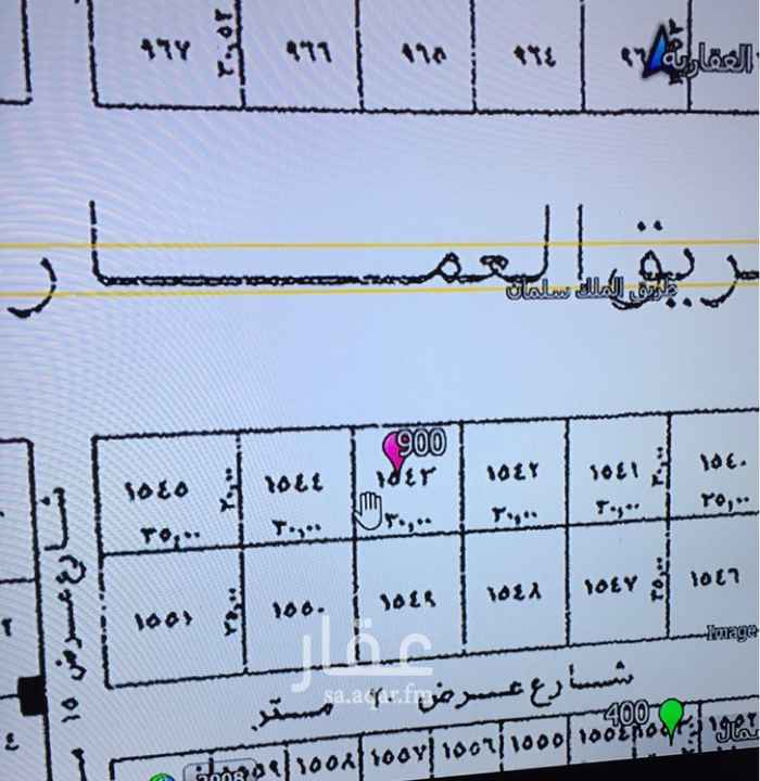 1624857 أرض تجارية على طريق الملك سلمان تفتح شمال  المساحة 900 م  الاطوال 30 * 30 السوم 7500 للمتر  العرض مباشر