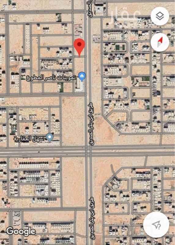 1679048 أرض تجارية للاستثمار  على طريق أبو بكر الصديق  شرقاً شارع عرض ٦٠ غرباً شارع عرض ١٨  شمالاً ممر مشاة عرض ٦ متر