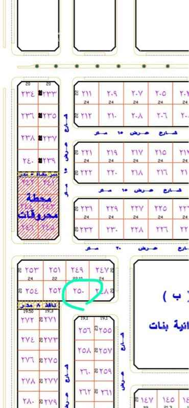 1601278 للبيع ارض  حي الوادي مخطط ١٣٧/٩ بلك ب رقم ٢٥٠  المساحه ٤٤٠ شارع 15 جنوب