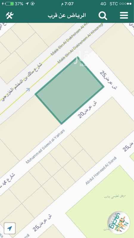 أرض للإيجار فى شارع مالك بن الدخشم الخزرجي, الرياض صورة 1
