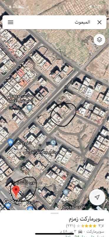 1580962 أرض للبيع  العنوان : شارع الربيع بن زيد , المبعوث, المدينة المنورة  عرض الشارع 15 متر  سكني  غرب  المساحه 630 متر مربع