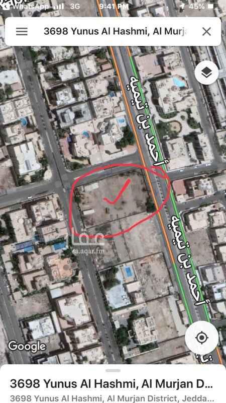 1290461 راس بلك ثلاثه شوارع الوحيد على احمد بن تيمية  المساحة        ٣٨٤٠م من المالك