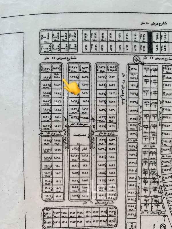 1407887 للبيع ارض بالمهدية رقم 1880 مخطط2566 ب 4 شرقية شارع 15  مساحه 405  قريبة جدا من الاربعين الرئيسي وقريبة من الدائري  الحد500  الف فابل للتفاوض البسيط