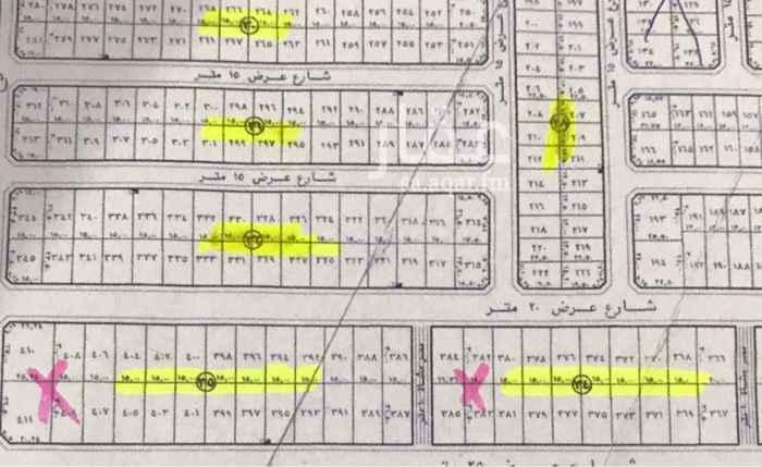 1637573 بلك مساحته ٩٣٨٠م على شوارع ٢٠ شمالي جنوبي ١٥ غربي وشرقي مخطط معتمد موقع مرتفع ارض مستويه  البيع ١٢٥٠ ريال للمتر حد نهائي  البيع بالكامل