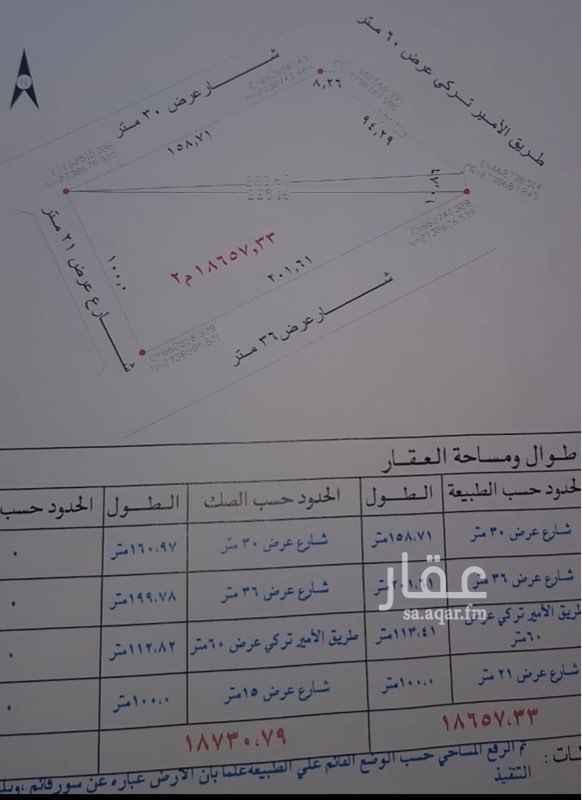 1087782 ارض للبيع في حي حطين موقع مميز على طريق الامير تركي بن عبدالعزيز مقابل اسواق الدانوب