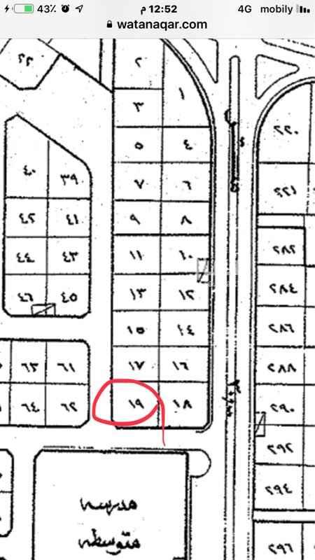 1591342 للبيع قطعة بضاحية هجر الحي الخامس رقم 19/ د مساحة 625 متر شارع 15